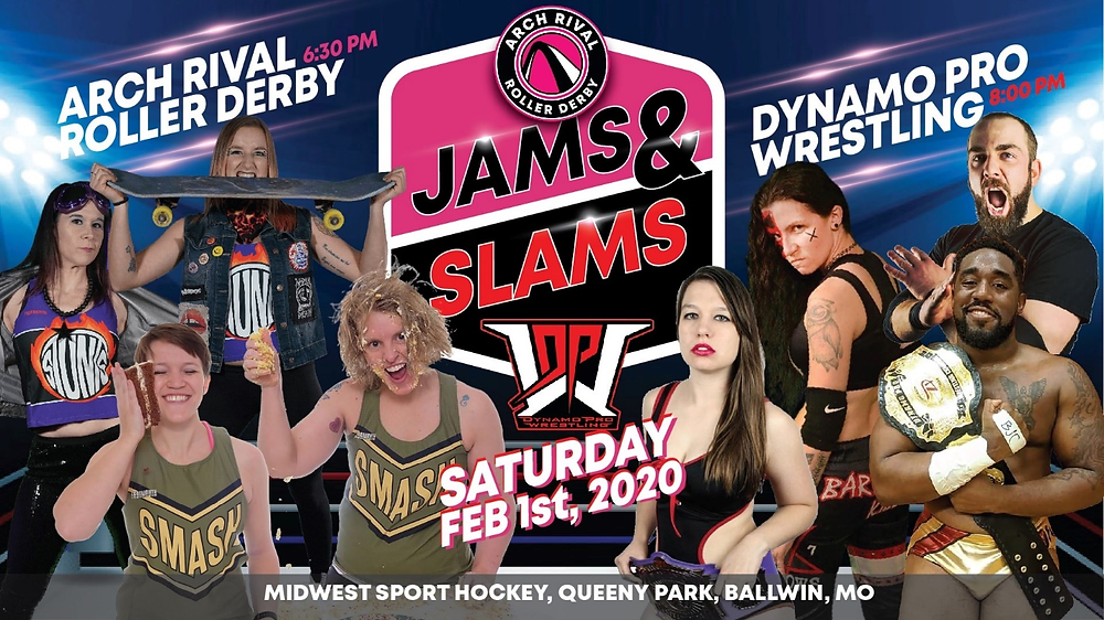 "Dynamo Pro Wrestling and Arch Rival Roller Derby Present ""Jams and Slams"" Promotional Flyer - Courtesy of Dynamo Pro Wrestling and Arch Rival Roller Derby)"
