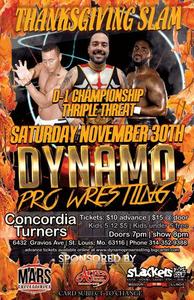 "(Dynamo Pro Wrestling D-1 Champion ""The King of Chaos"" Ricky Cruz vs. Jayden Dominic Rose vs. Camaro Jackson July 28th, 2018 Promotional Flyer - Courtesy of Dynamo Pro Wrestling)"