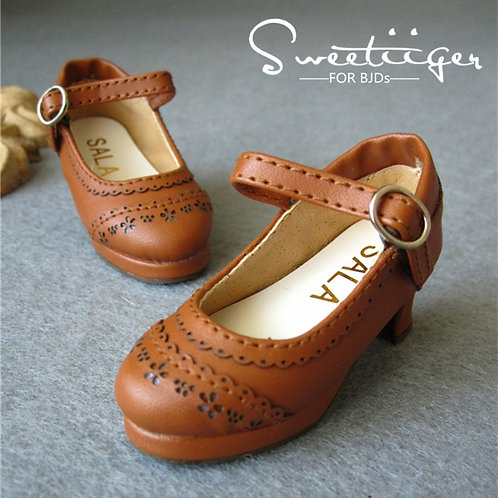 1/4 BJD shoes elegant honey brown leather oxford