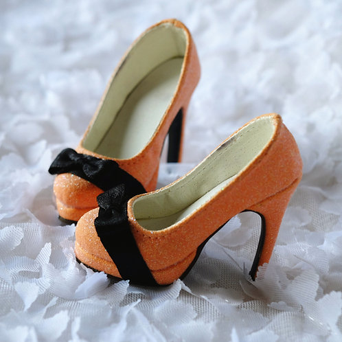 1/3 BJD shoes classic light orange sparkle heels