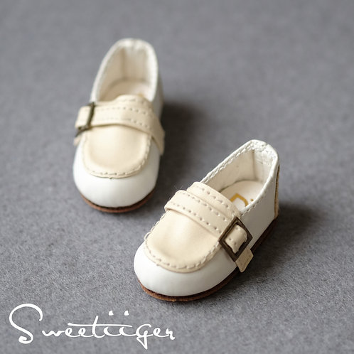 1/6 BJD shoes white Loafers