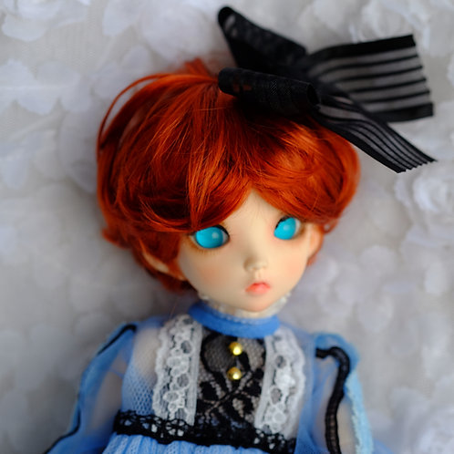 """Manmade-Mohair 6-7"""" 7-8"""" 8-9"""" Doll wig [carrot red angle roll]"""