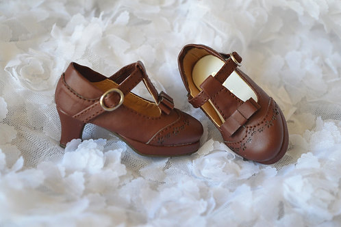 1/4 BJD shoes elegant brown leather oxford