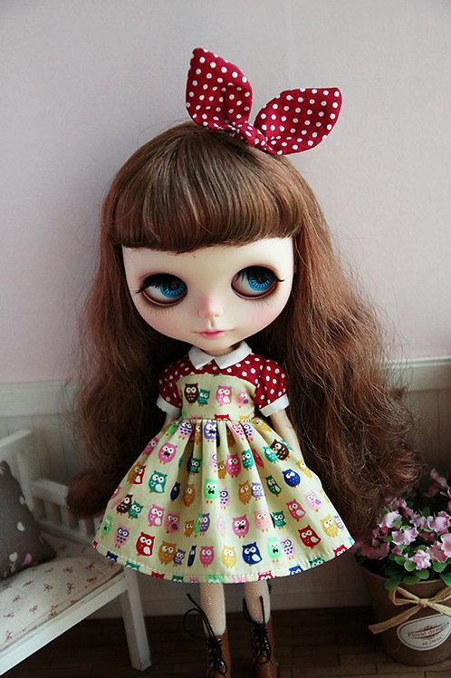 Blythe/Pullip sweet strawberry owls dress 2 sets