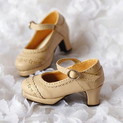 1/4 BJD shoes elegant milk tea leather oxford