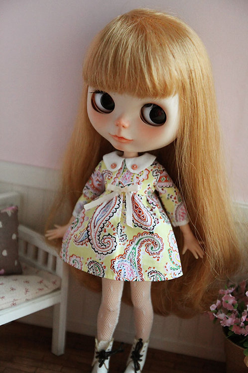 Blythe/Pullip Classical printing dress-yellow