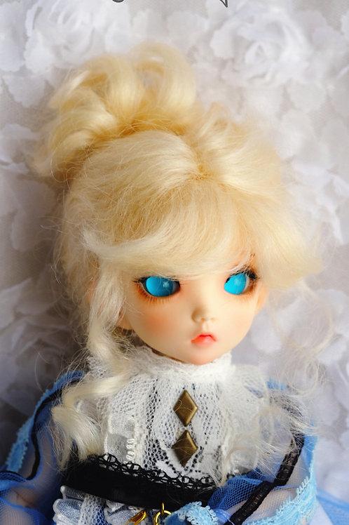"Natural-Mohair 6-7"" 7-8"" 8-9"" Doll wig [blonde Princess]"