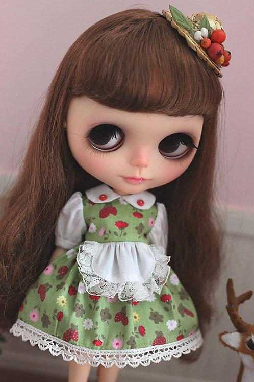 Blythe/Pullip sweet strawberry dress [green]