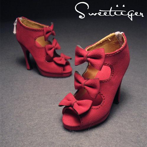 1/3 BJD shoes matte triple bows high heels