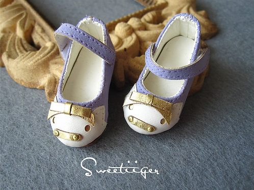 1/6 BJD leather carved lavender golden piggy shoes