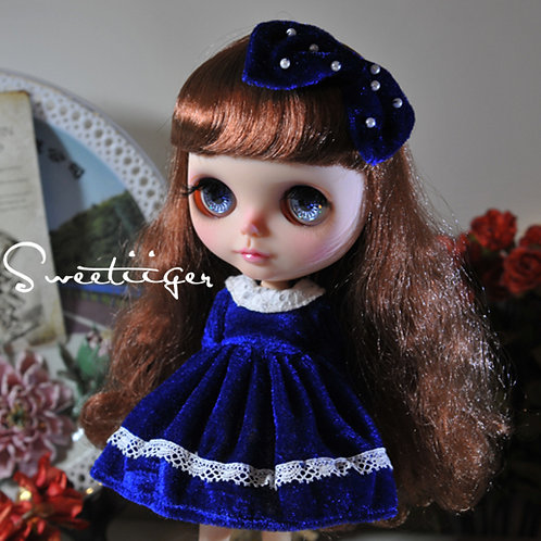 Blythe/Pullip sweet royal blue velvet dress 2 sets