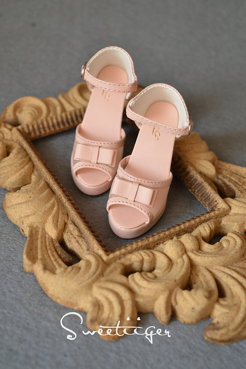 1/3 BJD shoes pink lace toe high-heeled sandals