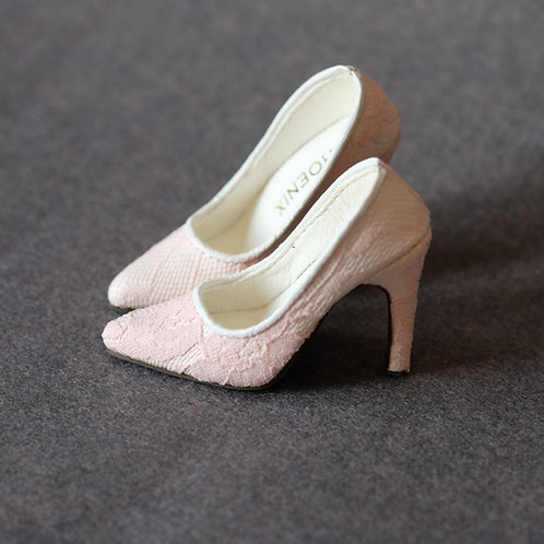 1/3 BJD shoes pink pin lace high heels
