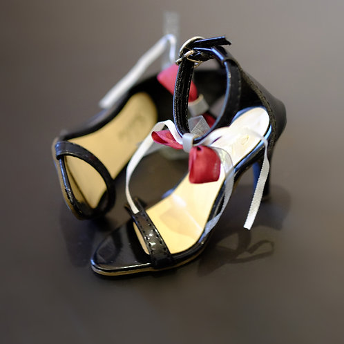 1/3 BJD shoes black bows lace toe high-heeled sandals