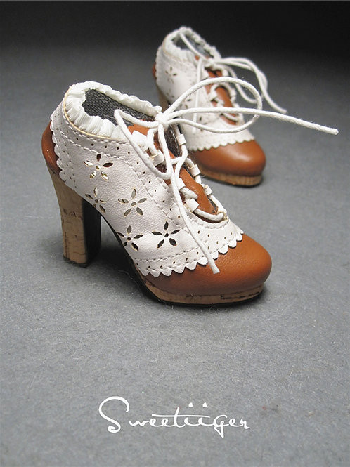 1/3 BJD shoes classic brown & white oxford shoes