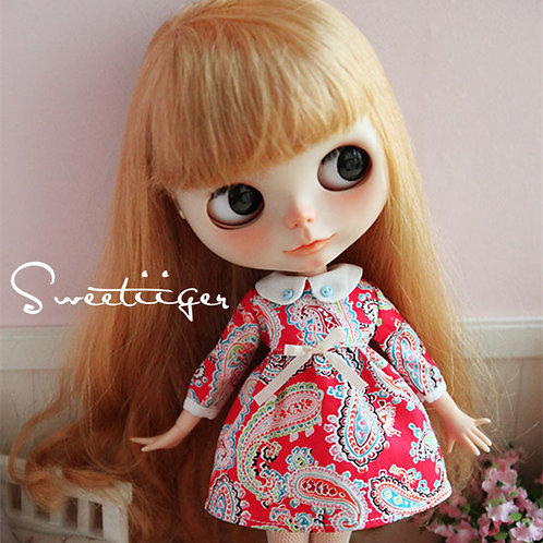 Blythe/Pullip Classical printing red dress