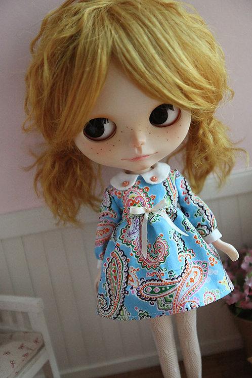 Blythe/Pullip Classical printing dress-blue