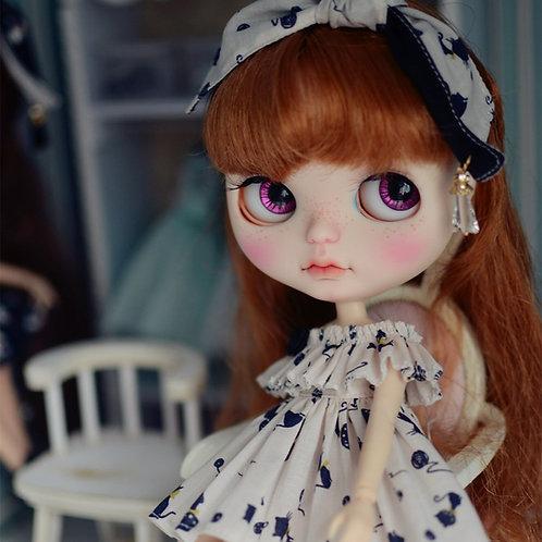 Blythe Pullip Embroidery off shoulder dress + hairband 2 set