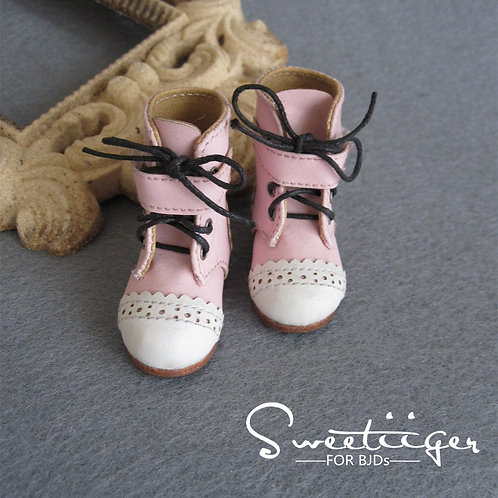 1/6 BJD shoes lace pink boots