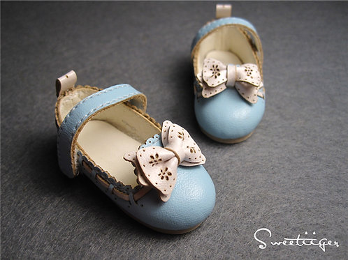 1/6 BJD carved lace baby blue lolita flat shoes