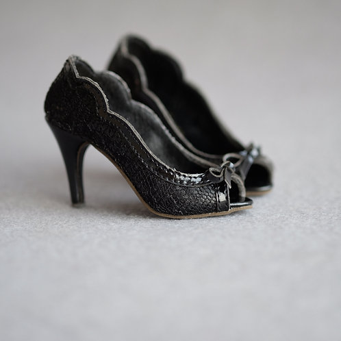 1/3 BJD shoes pearl black toes lace high heels