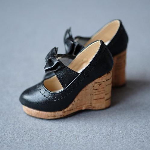 1/3 BJD shoes lolita black sweet heart wood wedge heels
