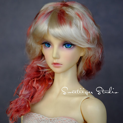 """hand dyeing Manmade-Mohair 8-9"""" Doll wig"""