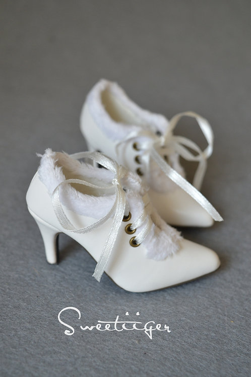 1/3 BJD shoes ribbon fur Ankle heels boots