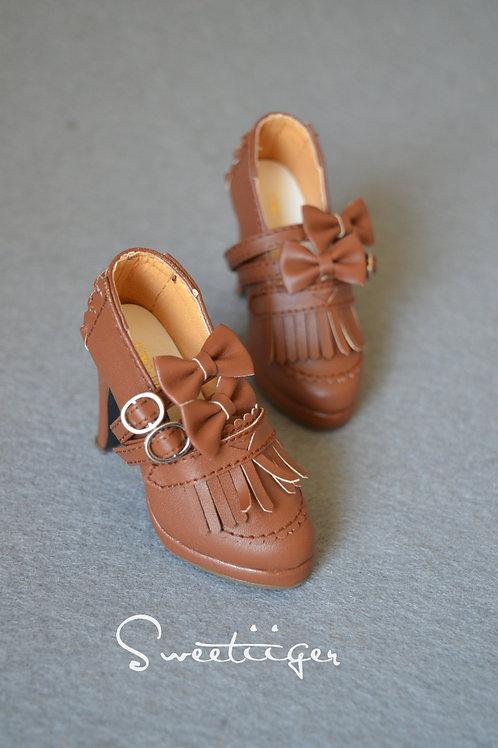 1/3 BJD shoes brown Oxford tassels high heels