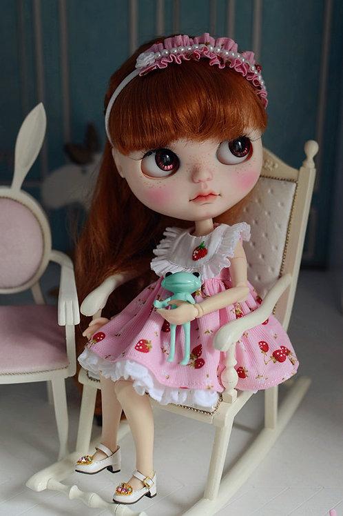 Blythe Pullip Embroidery strawberry dress + hairband 2 set