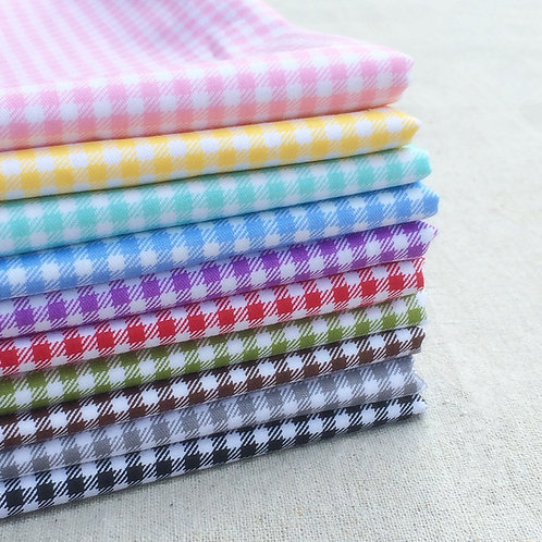 50 *75 cm 100% cotton Checkered printing doll clothes fabric 10 colors