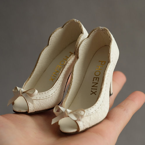 1/3 BJD shoes white toes lace high heels