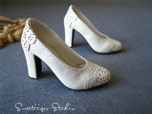 1/3 BJD shoes carved leather lace heels shoes