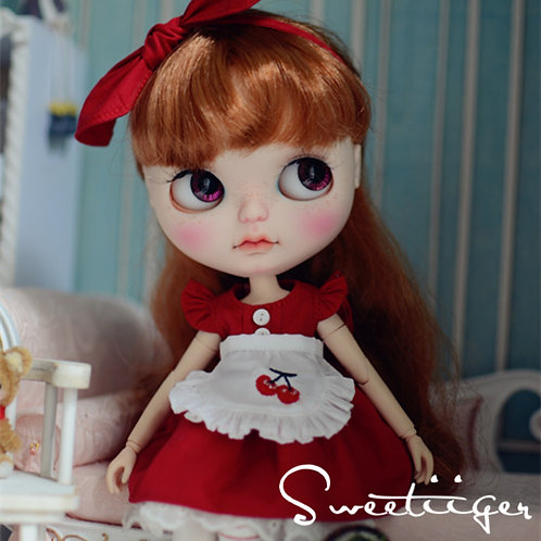 Blythe Pullip Embroidery cherry dress + hairband 5 set