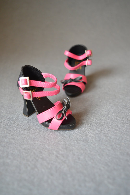 1/3 BJD shoes black & rose Thick with sandals