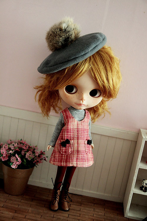 Blythe/Pullip sweet Woolen dress Beret outfit 3set