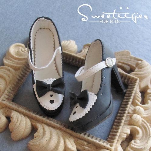 1/3 BJD shoes lolita black sweet heart high heels
