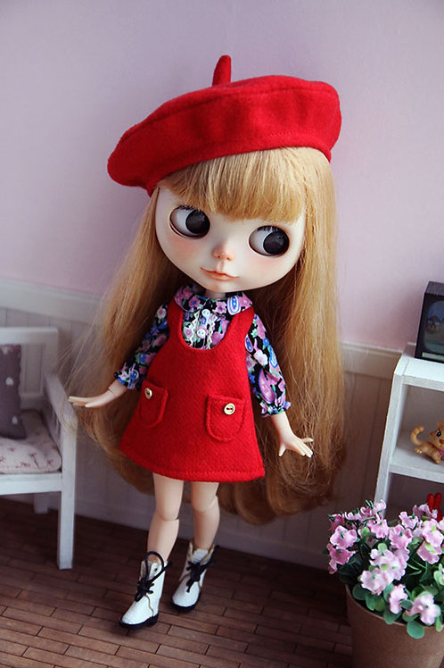 Blythe/Pullip sweet red Woolen dress outfit