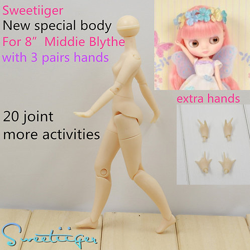 """Sweetiiger new jointed body for 8"""" Middie Blythe"""