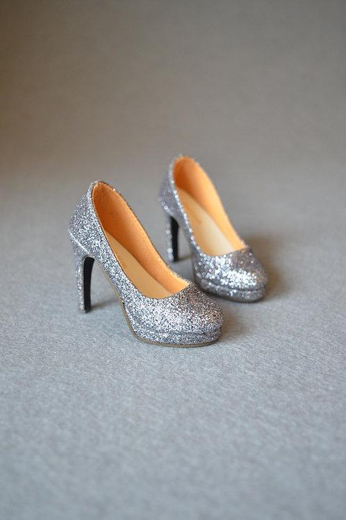 1/3 BJD shoes classic silver sparkle high heels