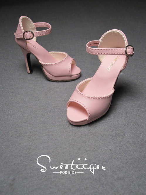 1/3 BJD shoes classic pink toes leather high heels