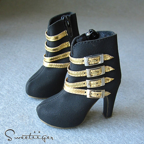 1/3 BJD shoes matte black gold Ankle heels boots