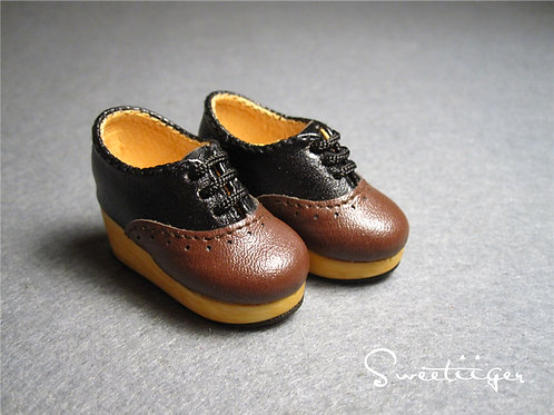 1/6 BJD carved double color Oxford block shoes