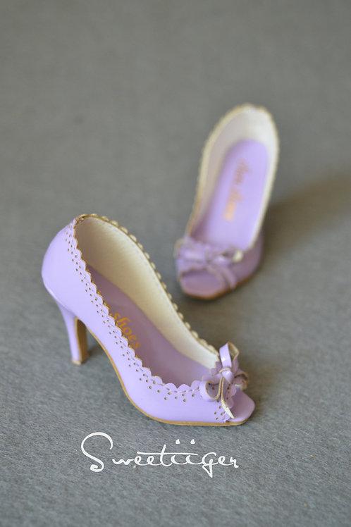 1/3 BJD shoes violet carved open-toed high heels