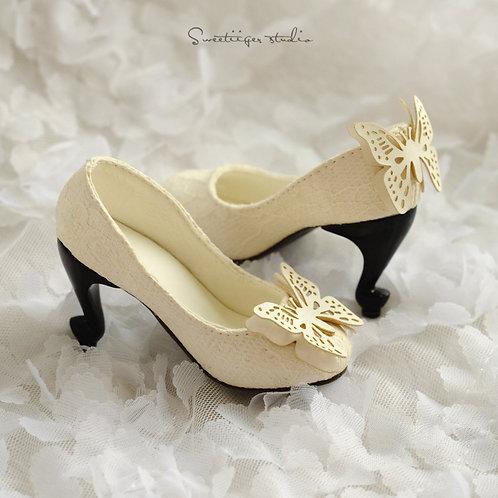 1/3 BJD high heel shoes art line-ivory [Butterfly Dreams]