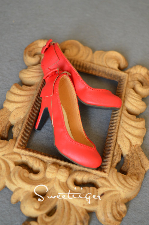 1/3 BJD shoes fire red back bow high heels