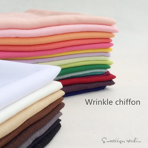 50 *150 cm Wrinkle chiffon pure color doll clothes fabric 24 colors