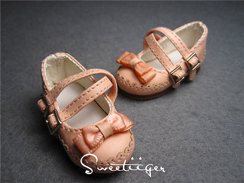 1/6 BJD peach pink bow shoes
