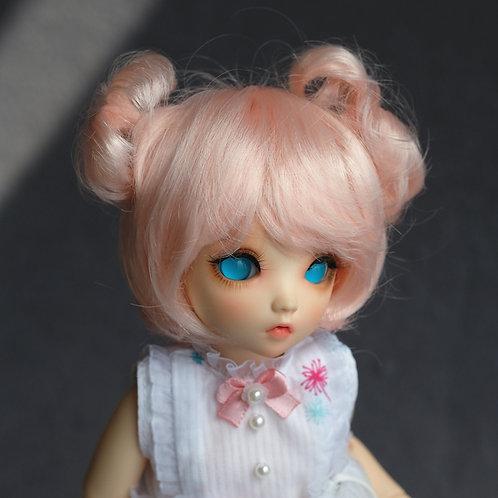"Manmade-Mohair 6-7"" Doll wig [peach double balls]"