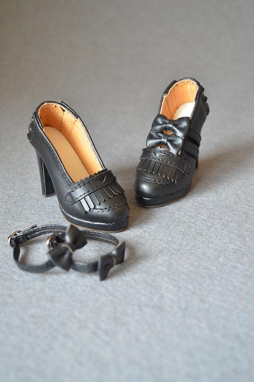 1/3 BJD shoes elegant black tassel Oxford heels